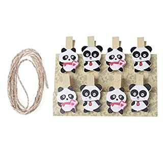 Xuniu 8 Pieces Panda Mini Wooden Craft Clip Photo Card Paper Peg Pin Clothespin With Rope