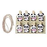 GROOMY 8 Pièces Panda Mini Artisanat en Bois Clip Photo Carte Papier Épingle À Linge Pince À Linge avec Corde Ménage Chaud