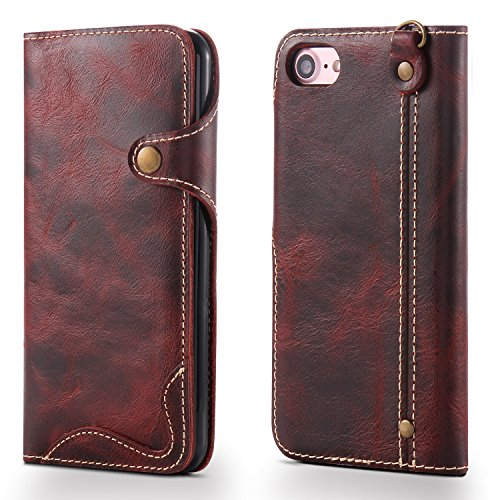 IPhone 8 Hülle, iPhone 7 Fall, Aomo echtes Leder-Material mit Buttons [Karteninhaber] [Vintage Classic Series] [alle um Schutz] Retro Leather Schutzhülle für iPhone 7 2016/iPhone 8 2017 (4,7 inch) WeinrotZPNK