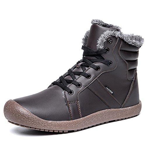 AFFINEST Botas De Nieve Hombre Invierno Botines Calentar Zapatos Deportes Al Aire Libre Boots de Algodón(Marrón,45)
