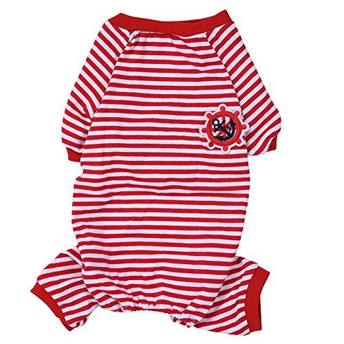 348a2eeb6 bulary Homewear de mascota Perro Gato algodón rayas Jumpsuits pijama