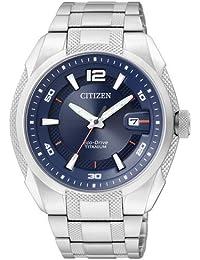 Citizen BM6900-58L - Reloj analógico de cuarzo para hombre, correa de titanio color plateado (solar)