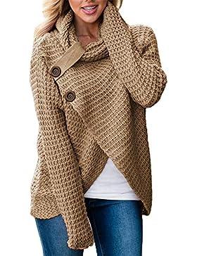 Socluer Suéter con Cuello Alto para Mujer Camisa asimétrica con Botones Laterales Elegante Clásico Suéter Manga...
