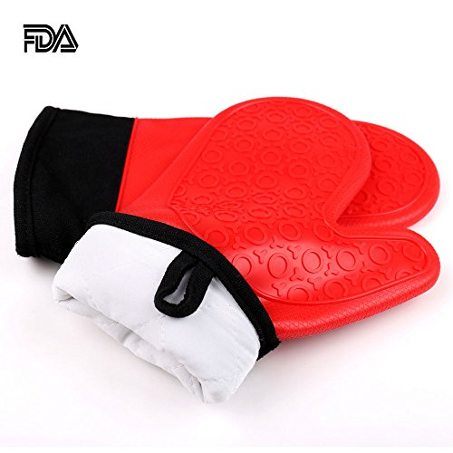Jonhen Heat Resistant Silicone Oven Gloves Non-Slip with Cotton Lining for Kitchen Baking – Oven Mitts 1 Pair, Bonus Brush & Pot Holder (red)