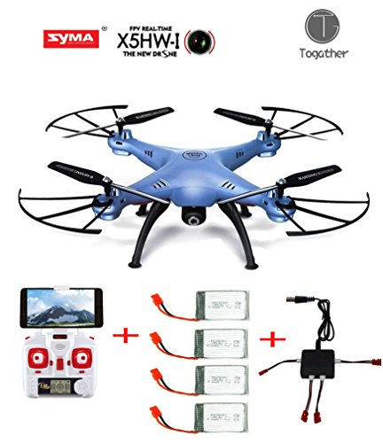 Togather® Syma X5HW FPV Explorers 2.4Ghz 6-Axis Gyro RC senza testa Quadcopter Drone UFO con Wifi Camera (migliore notizia in più 4 pezzi batterie 3.7v 500mAh e 1pcs caricatore e 4 pezzi cavo di bilanciamento per la sostituzione)