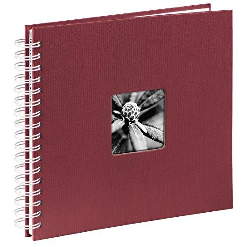 Hama Fotoalbum (28 x 24 cm, 50 weiße Seiten, 25 Blatt, mit Ausschnitt für Bildeinschub) Fotobuch bordeaux