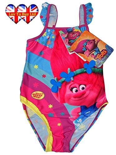 Kinder Badeanzug Trolle Mohnblumen Regenbogen Bademode Offiziell lizenziert, 5 Größen (3-7 Jahre) (7 Years: 122cm / 48