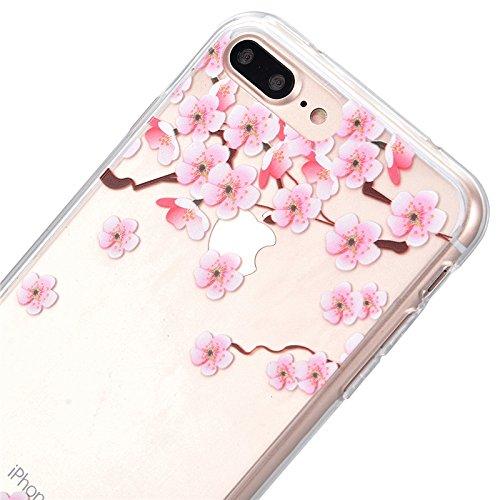 Cover iPhone 7, Yokata Custodia Trasparente Crystal Clear Coque PC Hart Backcover con Soft Morbido TPU Silicone Bumper Case et Ultra Slim Protettivo Case Cover + 1*Penna Stilo - Campanula Fiore Plum