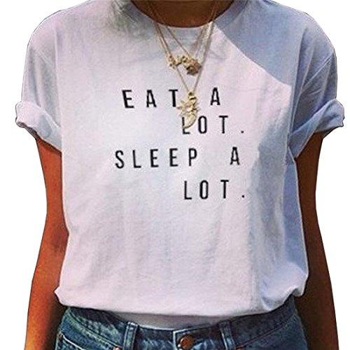 BLACKMYTH Mode Funny Kurzarm Baumwolle Tees Damen Beiläufig Graphic T-shirt Weiß Small
