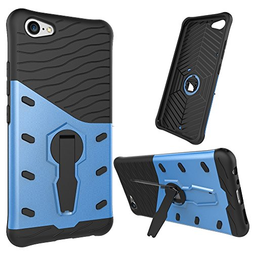 Für Vivo X9 Plus Armor Cover, 2 In 1 Durable TPU + PC Heavy Duty 360 ° Drehbarer Stand Dual Layer Shockproof Case Cover ( Color : Gold ) Blue
