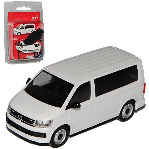Preisvergleich Produktbild VW Volkswagen T6 Bus Personen Transporter Weiss T5 Ab 2. Facelift 2015 Bausatz Kit H0 1/87 Herpa Modell Auto mit individiuellem Wunschkennzeichen