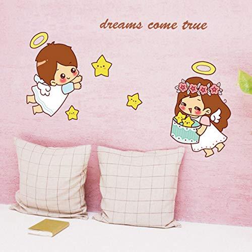 Yzybz Cartoon Niedlichen Kleinen Engel Wandaufkleber Für Kinder Baby Zimmer Schlafzimmer Dekoration Decals Tapete Jungen Mädchen Sterne Aufkleber