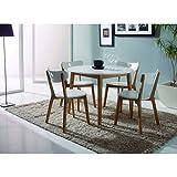 Mesa redonda cocina lacado en blanco diámetro 100 cm con 4 sillas en laca blanca y madera