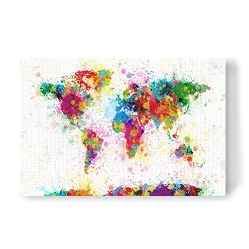 artboxONE Leinwand 120x80 cm Kartografie World Map Paint Splashes von Michael Tompsett