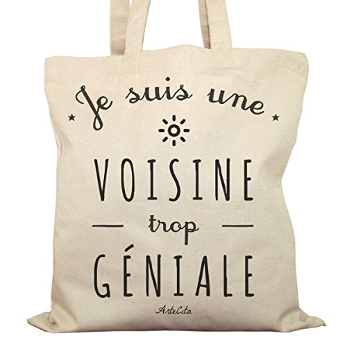 Tote Bag Imprimé Ecru - Toile en coton bio - Je suis une Voisine trop géniale
