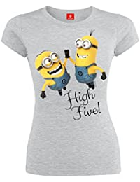 Minions High Five Camiseta Mujer Gris/Melé XL