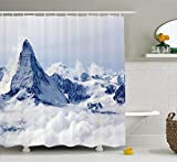 ADAM MARTINEZ JR Lake House Decor Shower Curtain, Scenery of Mountain Summit Magical Scenery Natural Paradise Pattern, Fabric Bathroom Decor Set with Hooks, 75 inches Long, Black White