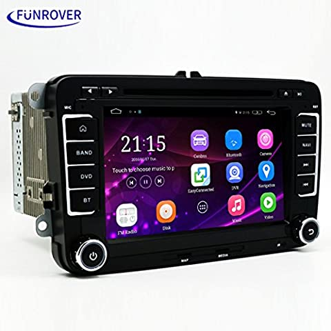Funrover Doppio Din Autoradio 2 Din Stereo 7 pollici Android 5.1 HD auto DVD Video Player Digital TV GPS Navigatore Car DVD Player for VW Volkswagen Touran Tiguan Golf 6 MK5 Passat