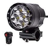MTSBW Motorrad Lampe Aluminiumlegierung GeäNdert Blinkt 6 Scheinwerfer 4000lm 12 V Externe Starke Licht Highlight Wasserdichte LED Mit Schalter