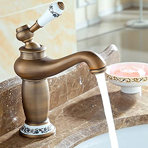 HJ-Kupfer und kontinentalen antikes jahrgang Wasserhahn Waschbecken Waschbecken Wasserhahn warm / kalt Keramik gold Duscharmaturen