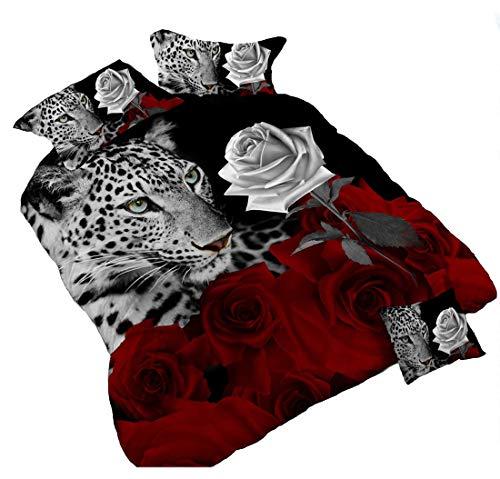 3D Leopard Weiß und Rot Rose Bettwäsche-Set Floral Prints 4Piece Bettbezug Größe Tröster Set für Doppelbett (Welt-bettwäsche-set)