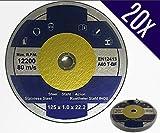 20dischi da taglio Ø 125mm x 1.0mm per smerigliatrice angolare in acciaio inox Flex parabrezza inox metallo