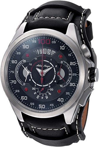 Adee Kaye Men's 'WHIRLLING COLLECTION' Quartz Stainless Steel and Leather Sport Watch, Color:Black (Model: AKE8900-M/LBK-WIDE)