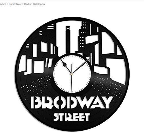 Ayzr Broadway NYC Vinyl Wanduhr Stadt Skyline Einzigartiges Geschenk Haus Und Büro|Raumdekoration