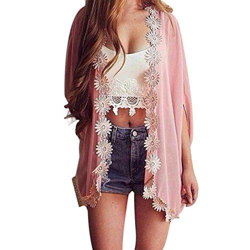 Crochet Floral Cardigan (2016Sommer Frauen Boho floral Batwing Kimono Cardigan Spitze Crochet Chiffon Bikini Cover up, Strick Lose Bluse Gr. L, Rose)