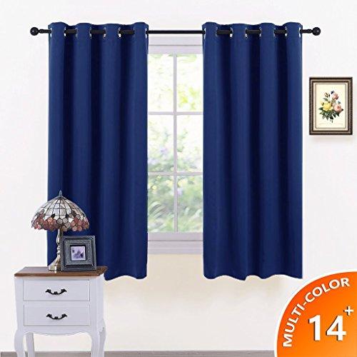 Vorhänge Blickdicht Gardinen mit Ösen - PONY DANCE 137 cm x 116 cm (Höhe x Breite), Dunkel Blau 2 Stücke Verdunkelungsvorhänge Vorhang für Büro, Schlafzimmer, Wohnzimmer (Fenster Volant Blau)