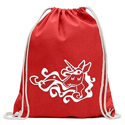 KIWISTAR - Einhorn Unicorn Regenbogen Turnbeutel Fun Rucksack Sport Beutel Gymsack Baumwolle mit Ziehgurt Rot