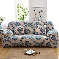 SZYUY Sofa Cover Slipcover Sets Throw Elastic Slipcover Sofa Sectional Sofa Towel Cushion Sofa Covers Stretch Polyester All-Inclusive-Style(Blue Flower)@235X310Cm/92X122In