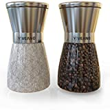 Veano Salz- und Pfeffermühlen 2er Set Elegance Edelstahl | Salzmühle & Gewürzmühle mit Präzisionsmahlwerk aus Keramik | Gratis eBook