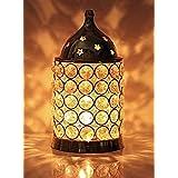 Ein Sof Akhand Diya Decorative Brass Crystal Oil Lamp Tea Light Holder Lantern Puja Lamp Decorative for Home Office Gifts Poo