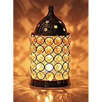 Ein Sof Akhand Diya Decorative Brass Crystal Oil Lamp Tea Light Holder Lantern, 6 inch (Gold and White)