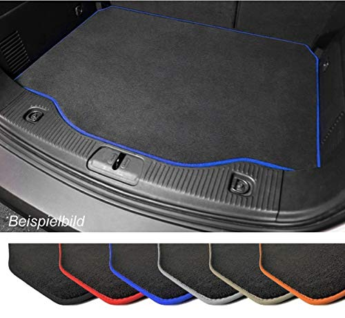 Premium Kofferraummatte für VW Golf Plus Velours Anthrazit Umrandung Blau Kofferraumschutz