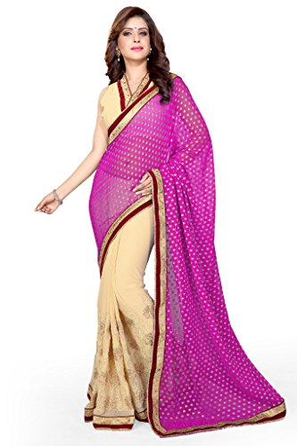 Sourbh Sarees Pink And Beige Jacquard And Faux Georgette Half Half Saree for Women Party Wear