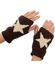 Demarkt Damen Herren Unisex Winter Plüsch süß Stern Muster Halbfinger Fingerlos warmer Handschuhe Gift