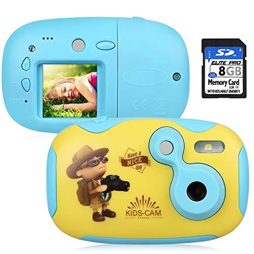AGM Cámara para Niños, Cámara de Video con Funda Carcasa de Silicon 1.44' HD Color Pantalla Digital Cámara Niños con Tarjeta de Memoria de 8GB para Chicas y Chicos (Azul + Amarillo)