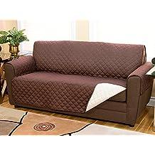 Funda de sofá reversible de doble color, tela acolchada para sofás hasta 140cm, protege de mascotas, polvo y manchas