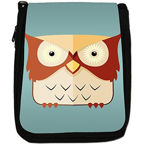 Fun Funky Awesome Wise Vecchi gufi, in tela, colore: nero, taglia: M Nero (Brown Light Yellow Staring Owl)