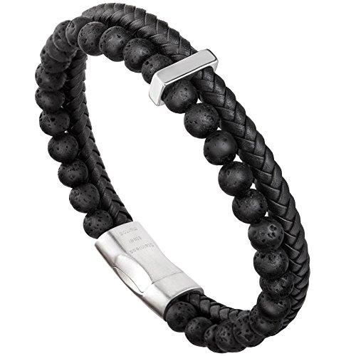 murtoo Armband Herren Leder Armband Naturstein Geflochtenes Armband aus schwarzer Onyx Wunderbar Geschenk Fuer Herren 22cm(neu naturstein schwarz) - Schwarz Leder Not