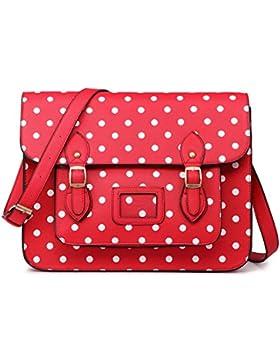 Miss Lulu, Vintage-Stil, gepunktet, Leder, Handtasche, Umhängetasche, Schultasche