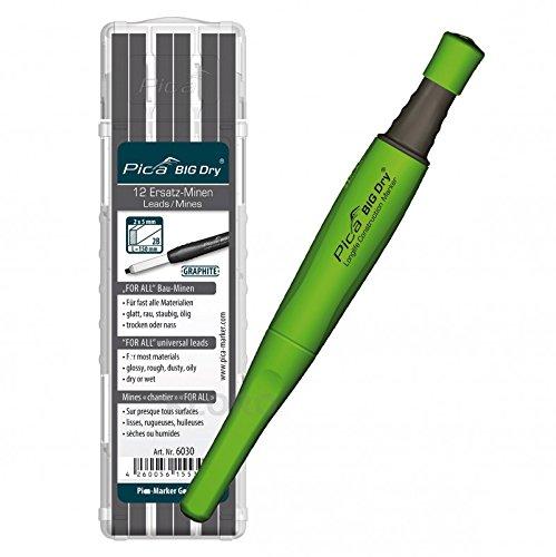 PICA-BIG Dry 1 x Marker + 12 Ersatzminen 6030 For All Bau-Minen Graphit