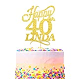 Personalised Happy Birthday Cake Topper - Custom with Any Name Any Age - Multicolours Double Sided 400 Gram Glitter Card.