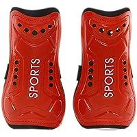 Yoowish Protector de espinilleras de fútbol, Ligero, Transpirable, para niños de 8 a 13 años, Rojo
