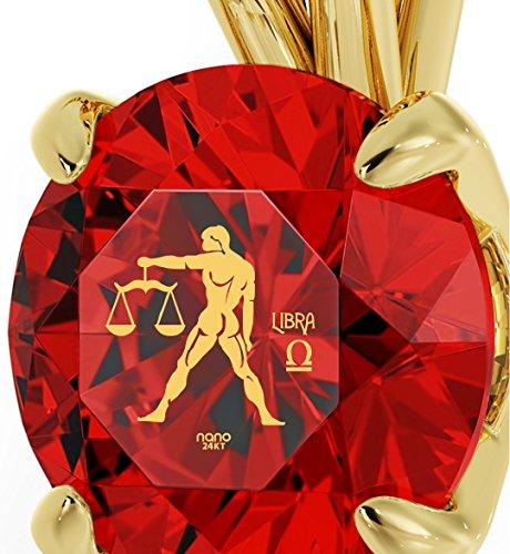 Pendentif Signe du Zodiaque en Or Jaune 14ct - Collier Balance avec Inscription en Or 24ct sur un Cristal Swarovski, Chaine en Or Laminé de 45cm - Bijoux Nano Rouge