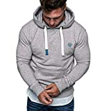 Yvelands Herren Langarm Tops Sweatshirt Pullover Casual Sweatshirt Hoodies Top Bluse Trainingsanzüge(CN-2XL,Grau)