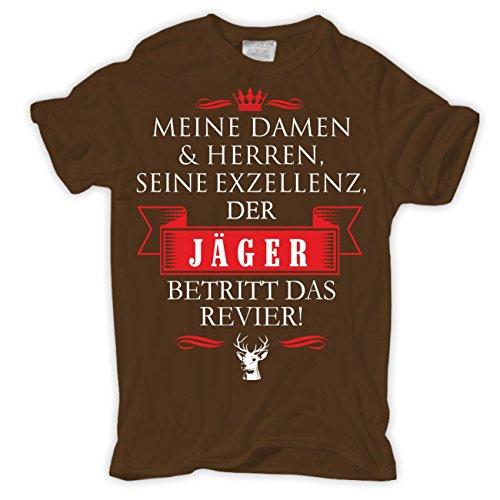 Männer und Herren T-Shirt Seine Exzellenz DER JÄGER Braun