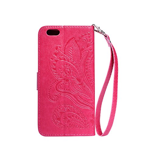Schutzhülle für iPhone 6s Plus Tasche Gold,BtDuck Solide Slim PU Leder Flip Cover Hülle Lanyard Ledertasche Wallet Case Blossom Blume Elegant Embrossed Handytasche für iPhone 6 Plus 5,5 Zoll Cases Etu Rote